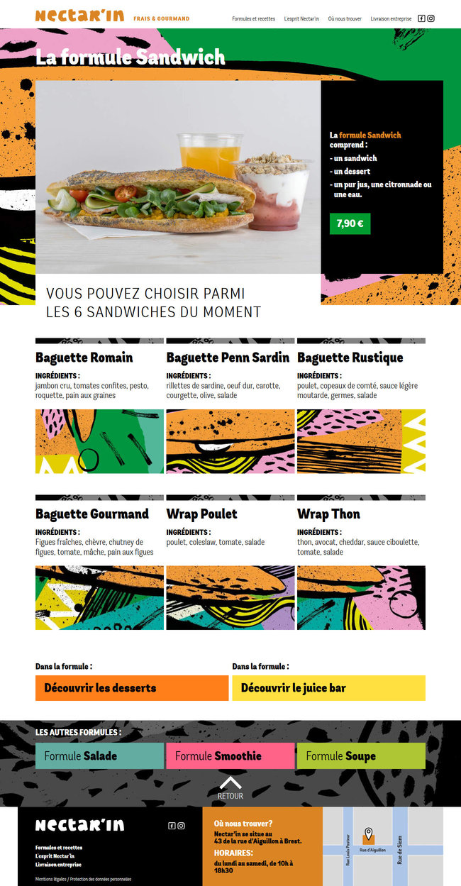 Page showcasing the sandwiches sold at Nectar'In