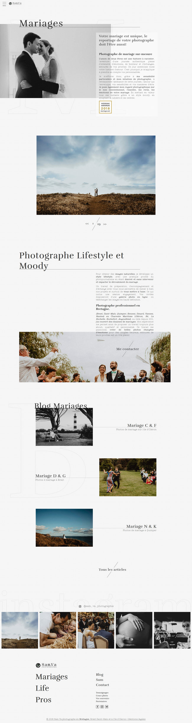 Wedding page showcasing selected work